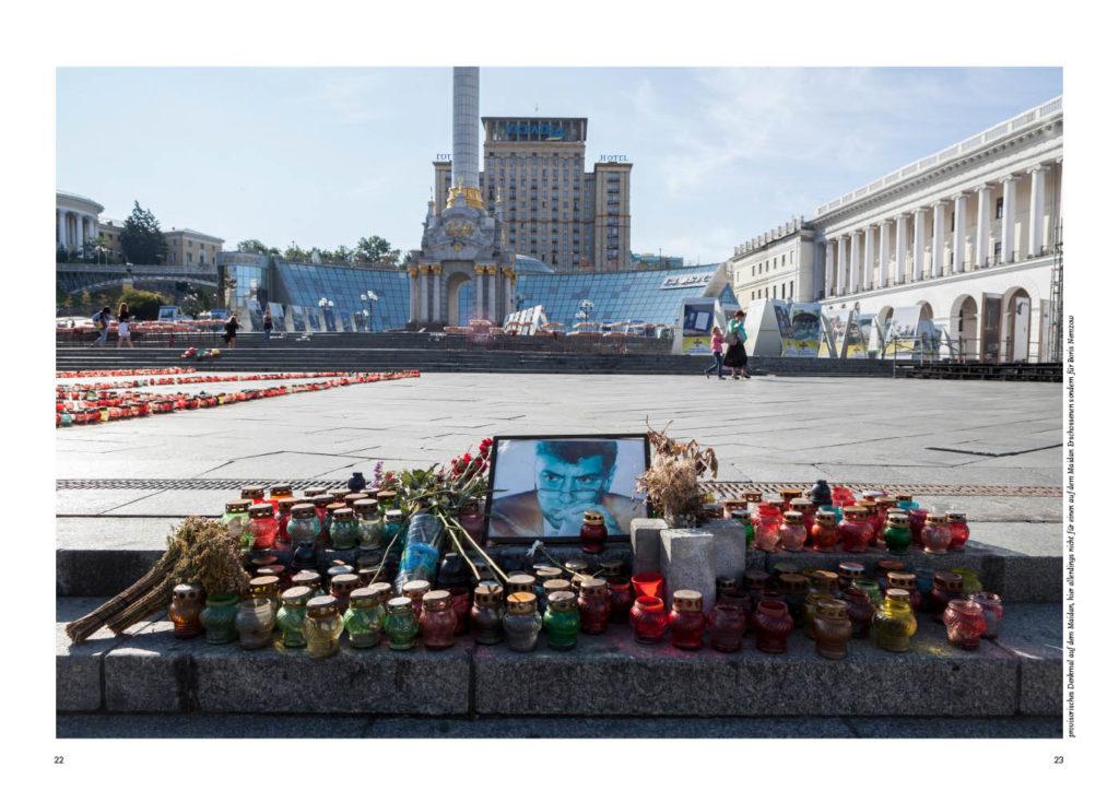 Kiew in der Ukraine, Gedenken auf dem Maidan