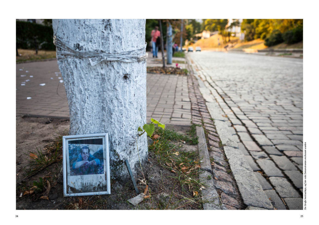 Kiew in der Ukraine, Gedenken in der Nähe des Maidans